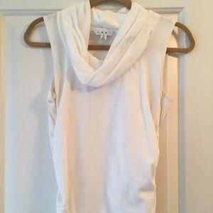 CAbi #743 white cowl neck ruched sides